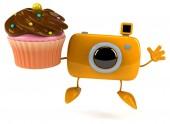 Fun camera with cupcake — Stock fotografie