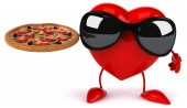 Fun heart with pizza — Stock Photo