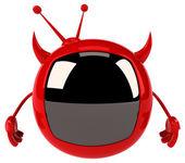 Evil red tv — Stock Photo