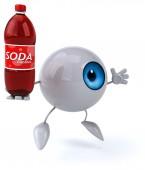 Fun eye with bottle of soda — Stock Photo