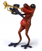 Fun frog with trumpet — Stockfoto