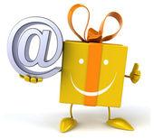 Cadeau met e-teken — Stockfoto