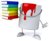 Paint bucket with books — Stock Photo