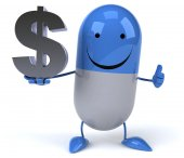 Cartoon pill with dollar sign — Foto de Stock
