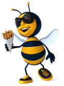 Fun bee with french fries — Photo