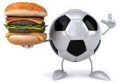 Football ball with burger — Stockfoto