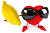 Забавное сердце с бананом — Стоковое фото
