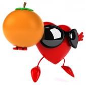 Fun heart with an orange — Stock Photo