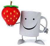 Fun mug with strawberry — Stockfoto
