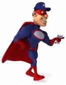 Fun superhero with wrench — Stock Photo