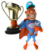 Fun superhero with trophy — Stock Photo