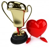 Fun heart with trophy — Stock Photo