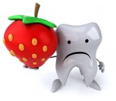 Fun tooth with strawberry — Stockfoto