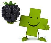 Pharmacy cross with blackberry — Stock Photo