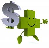 Pharmacy cross with dollar — Stock Photo