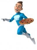Fun superhero with pizza — Stock Photo