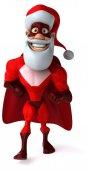 Fun superhero in Santa's costume — Stock Photo