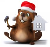 Fun beaver with house model — Stock Photo
