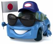 Fun car with flag of Japan — Stock Photo