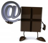 Chocolate bar with email symbol — Foto de Stock