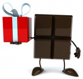 Chocolate bar with gift — Foto de Stock