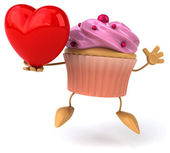 Fun cupcake with red heart — Stock Photo