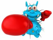 Fun germ in boxing gloves — Stock Photo