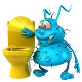 Fun cartoon germ at toilet — Stock Photo