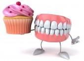 有趣的牙齿与蛋糕 — 图库照片