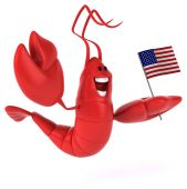 Fun lobster with USA flag — Stock Photo