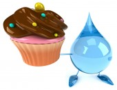 Water drop with cupcake — Stock Photo