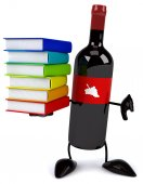 Wine bottle with books — Stock Photo