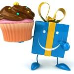 Fun gift with cupcake — Stock Photo #58985507