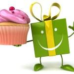 Fun gift with cupcake — Stock Photo #58985517