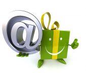 Presente divertido com símbolo de e-mail — Fotografia Stock