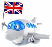 Fun plane with flag of England — Stock Photo