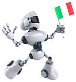 Robot with flag of Italy — Stock Photo
