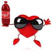 Fun heart with soda bottle — Stock Photo