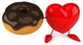 Fun heart with donut — Stock Photo