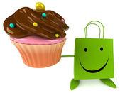 Shopping sac de dessin animé avec cupcake — Photo