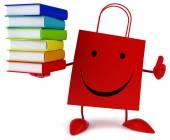 Shopping bag with books — Stok fotoğraf