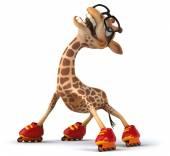 Fun giraffe in glasses on roller skates — Stock Photo