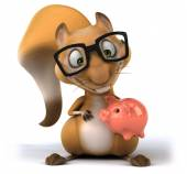 Fun squirrel with piggy bank — Stockfoto
