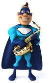 Kul superhjälte med saxofon — Stockfoto