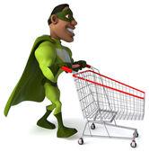 Fun superhero with shopping cart — Stock Photo