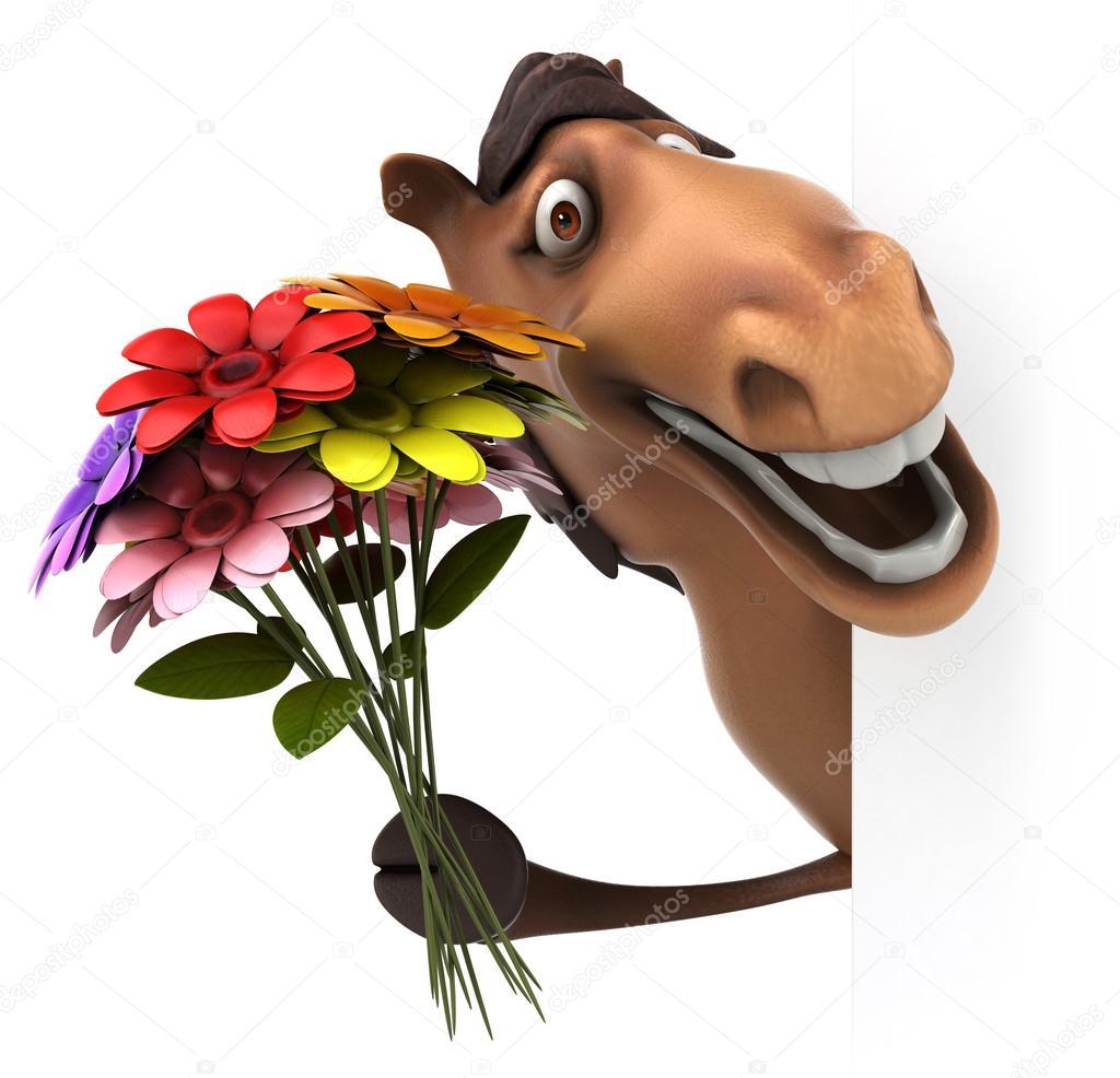 Мягкая музыкальная игрушка Лошадь в шляпе с цветком в зубах 511