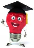 Light bulb illustration in square academic cap — Stock Photo