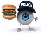Fun eye with burger — Stock Photo