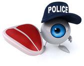Fun eye in police hat with steak — Stock Photo