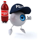 Fun eye with soda bottle — Stock Photo